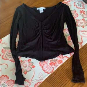 Planet Gold, black sparkly fitted top , size s